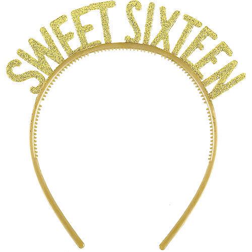 Glitter Gold Sweet 16 Headbands 6ct Image #1