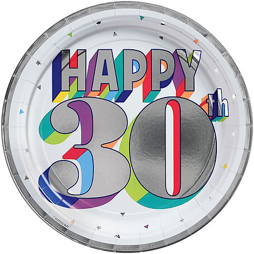 Metallic Here's to 30 Birthday Lunch Plates 8ct Image #1