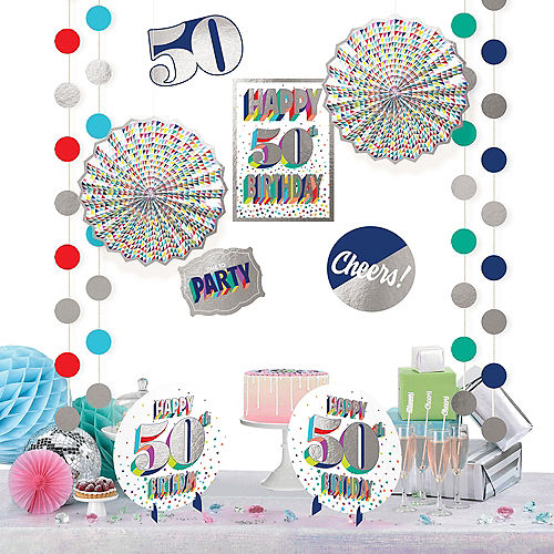 Here's to 50 Birthday Room Decorating Kit 12pc Image #1