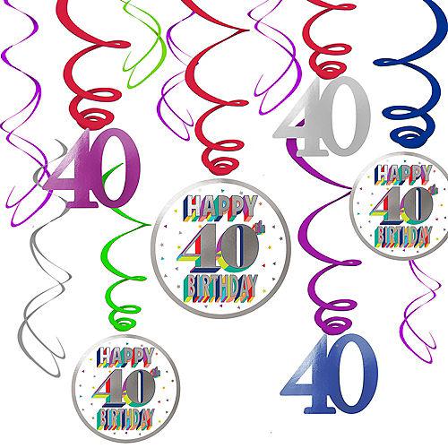 Here's to 40 Birthday Swirl Decorations 12ct Image #1