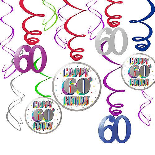 Here's to 60 Birthday Swirl Decorations 12ct Image #1