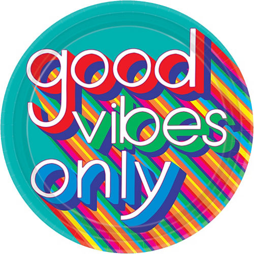 Good Vibes 70s Dinner Plates 8ct Image #1