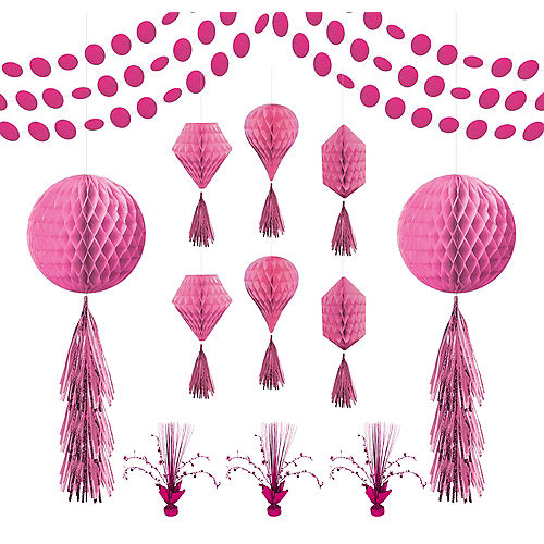 Bright Pink Honeycomb Decorating Kit Image #1