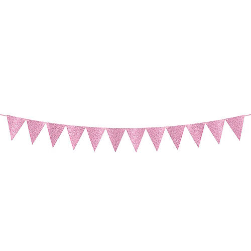 Create Your Own Glitter Pink Pennant Banner Image #1