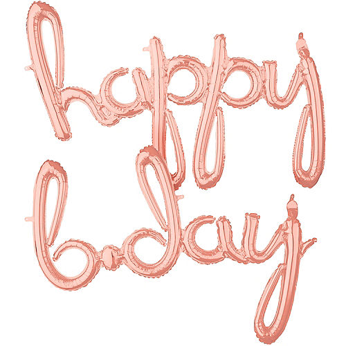 Air-Filled Rose Gold Happy B-Day Cursive Letter Balloon Banners 2ct Image #1
