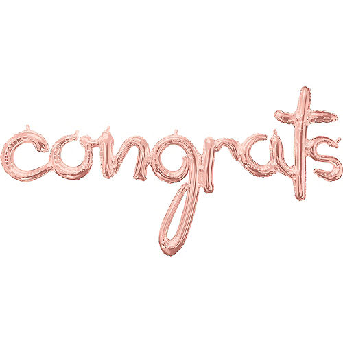 Air-Filled Rose Gold Congrats Cursive Letter Balloon Banner Image #1