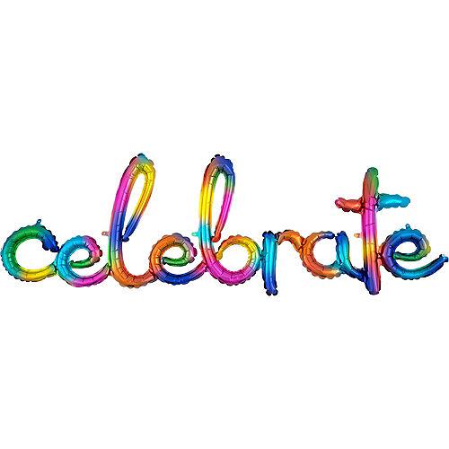 Air-Filled Rainbow Splash Celebrate Cursive Letter Balloon Banner Image #1