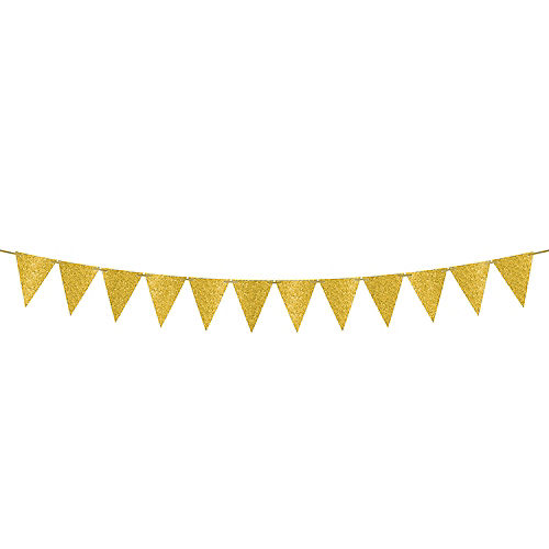 Mini Create Your Own Glitter Gold Pennant Banner Image #1
