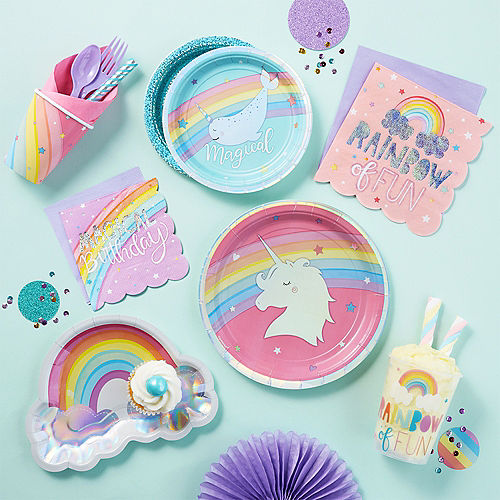 Iridescent Magical Rainbow Dessert Plates 8ct Image #4
