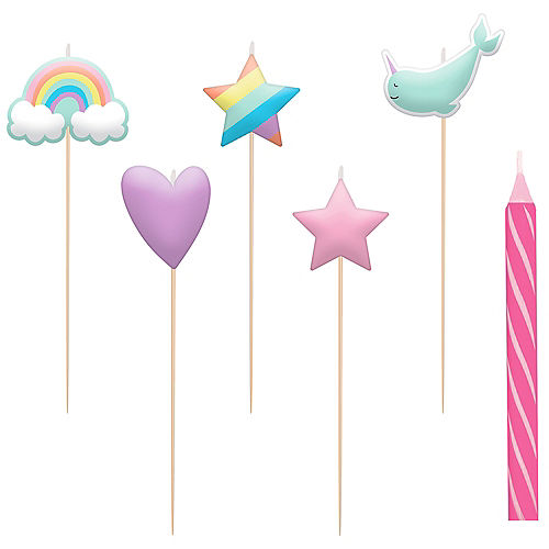 Magical Rainbow Birthday Candles 8ct Image #1