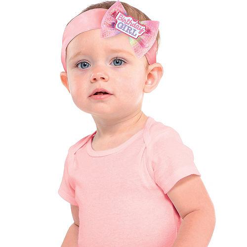 Pink 1st Birthday Girl Bow Headband Image #1
