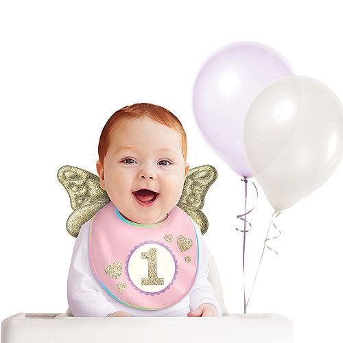 Glitter Gold & Pink 1st Birthday Bib Image #1