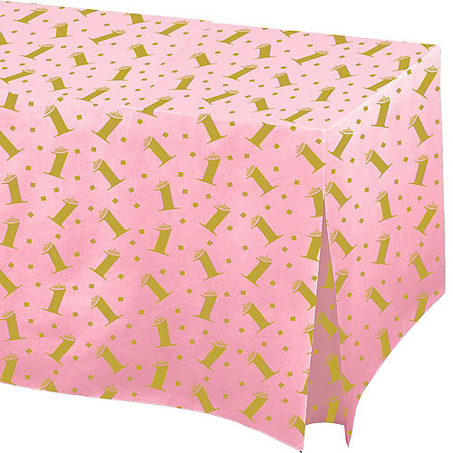 Pink & Gold Confetti 1st Birthday Flannel-Backed Vinyl Fitted Table Cover Image #1