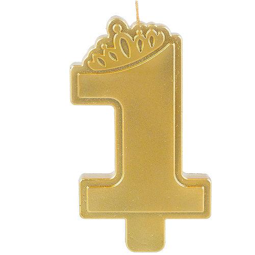 Metallic Pink & Gold Confetti 1st Birthday Candle Image #1