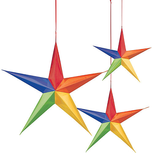 3D Rainbow Star Decorations 3ct Image #1