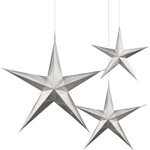 3D Silver Star Decorations 3ct Image #1