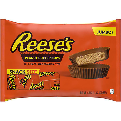Milk Chocolate Reese's Peanut Butter Cup Snack Size Jumbo Bag 1.22lb Image #1
