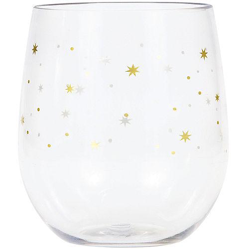 Gold Stars Plastic Stemless Wine Glass Image #1