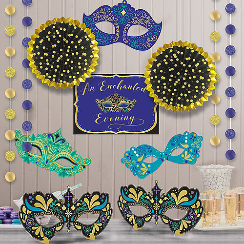 A Night In Disguise Masquerade Room Decorating Kit 12pc Image #1
