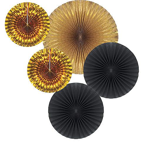 Black & Gold Paper Fan Decorations 5ct Image #1