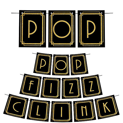 Roaring 20s Pop Fizz Clink Pennant Banner Image #1