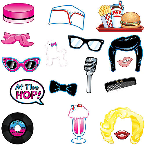 Rock 'n' Roll 50s Photo Booth Props 17ct Image #1