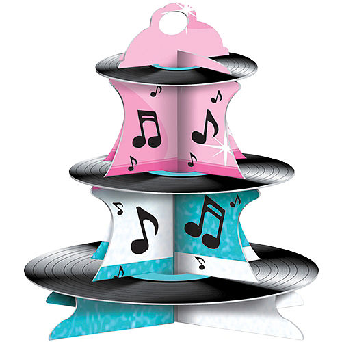Rock 'n' Roll 50s Record Cupcake Stand Image #1
