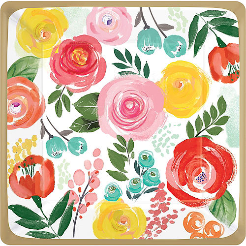Bright Floral Dinner Plates 8ct Image #1