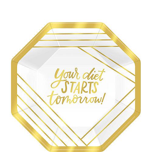 Metallic Gold Diet Dessert Plates 8ct Image #1