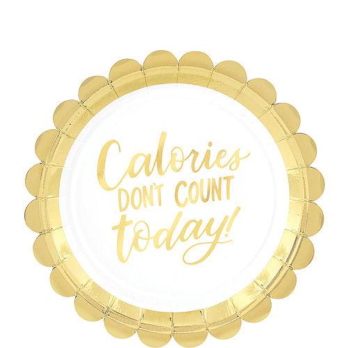 Metallic Gold Calories Scalloped Dessert Plates 8ct Image #1