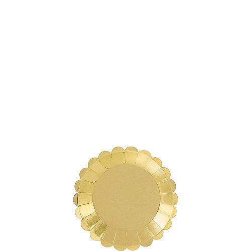 Mini Metallic Gold Scalloped Appetizer Plates 36ct Image #1