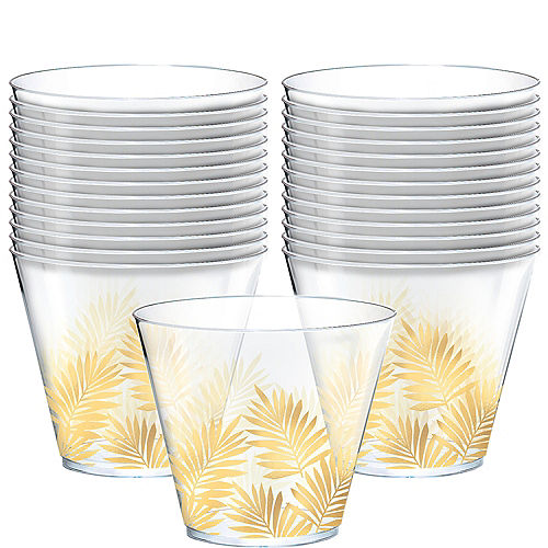 Metallic Gold Key West Palm Leaf Cups 30ct Image #1