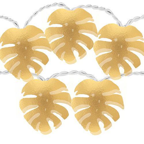 Metallic Gold Key West Palm Leaf LED String Lights Image #1