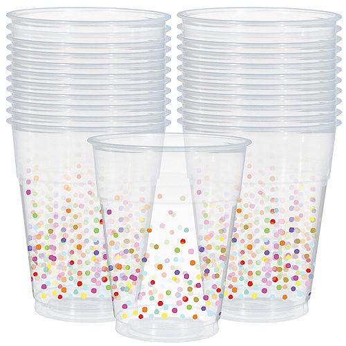 Rainbow Confetti Plastic Cups 20ct Image #1