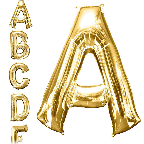 34in Gold Baby Letter Balloon Kit Image #3