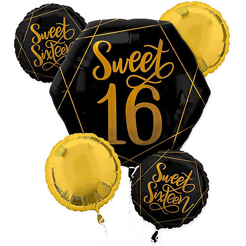 Black & Metallic Gold Sweet 16 Balloon Bouquet 5pc Image #1