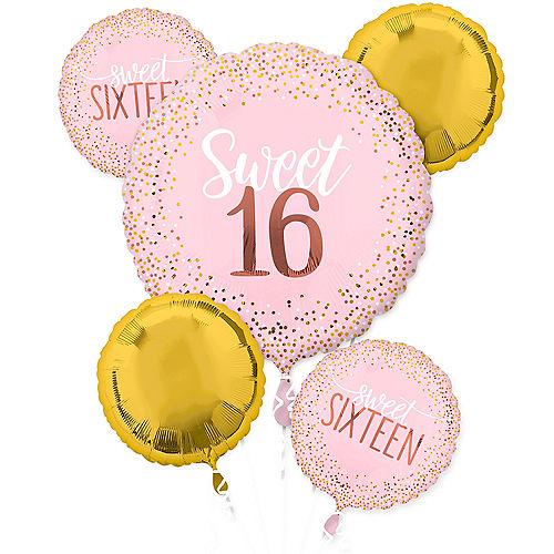 Metallic Gold & Pink Sweet 16 Balloon Bouquet 5pc Image #1