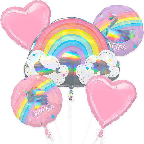 Magical Rainbow Birthday Balloon Bouquet 5pc Image #1
