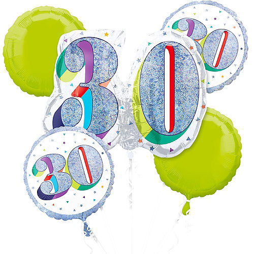 Prismatic Here's to Your 30th Birthday Balloon Bouquet 5pc Image #1