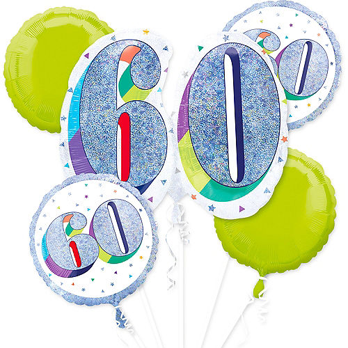Prismatic Here's to Your 60th Birthday Balloon Bouquet 5pc Image #1