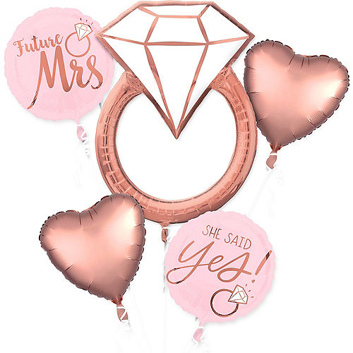Rose Gold Engagement Party Balloon Bouquet 5pc Image #1