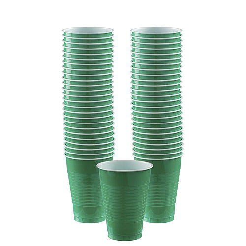 Red & Festive Green Plastic Tableware Kit for 50 Guests Image #5