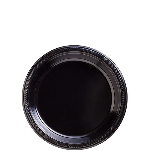 Black & Silver Plastic Tableware Kit for 50 Guests Image #2