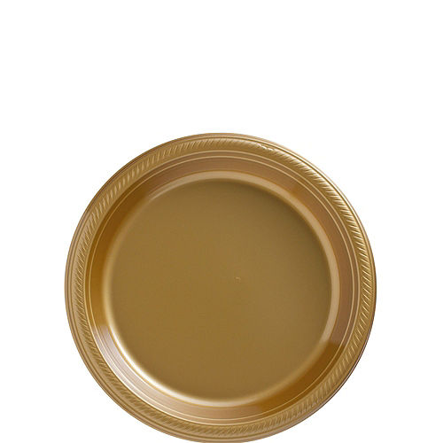Vanilla & Gold Plastic Tableware Kit for 50 Guests Image #2