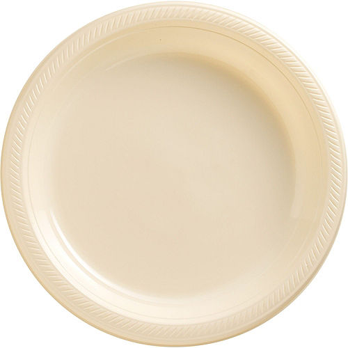 Vanilla & Gold Plastic Tableware Kit for 50 Guests Image #3