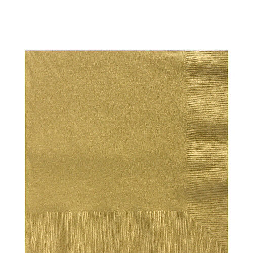 Vanilla & Gold Plastic Tableware Kit for 50 Guests Image #4