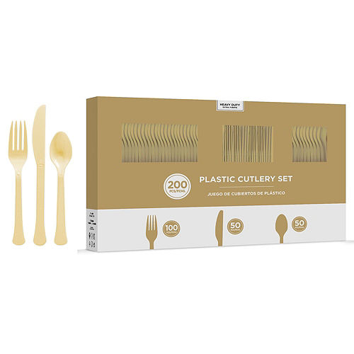 Vanilla & Gold Plastic Tableware Kit for 50 Guests Image #8