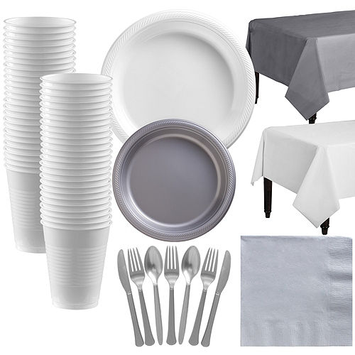 White & Silver Plastic Tableware Kit for 50 Guests Image #1