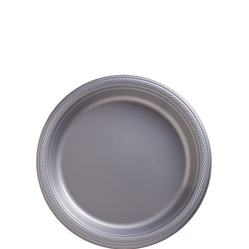 White & Silver Plastic Tableware Kit for 50 Guests Image #2