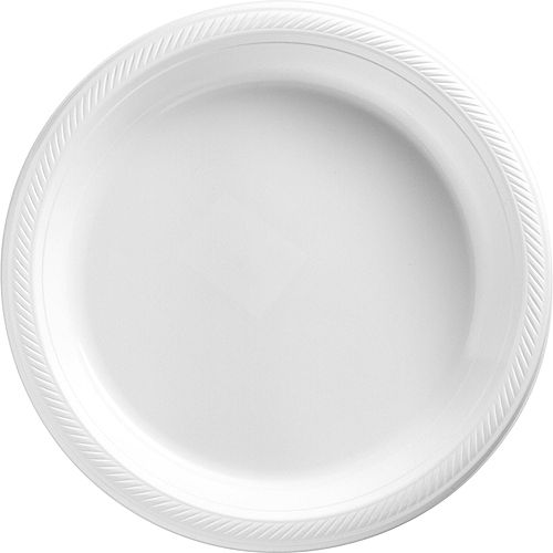 White & Silver Plastic Tableware Kit for 50 Guests Image #3